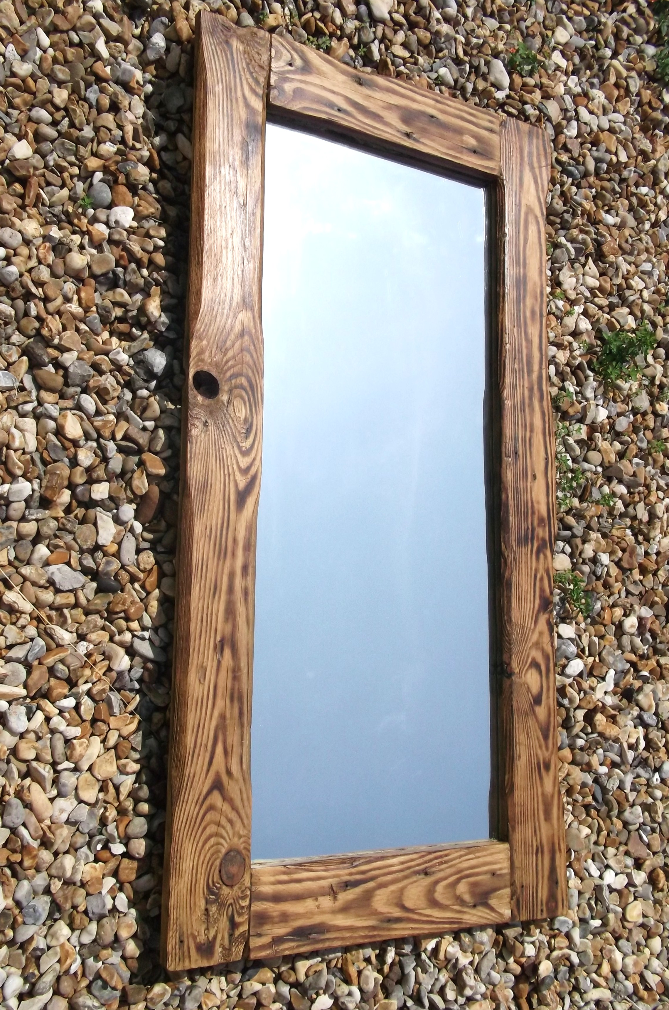 Mirrors made with reclaimed wood available to order to for Wood framed mirrors