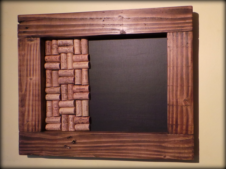 wine cork pin board blackboard in a reclaimed wood frame
